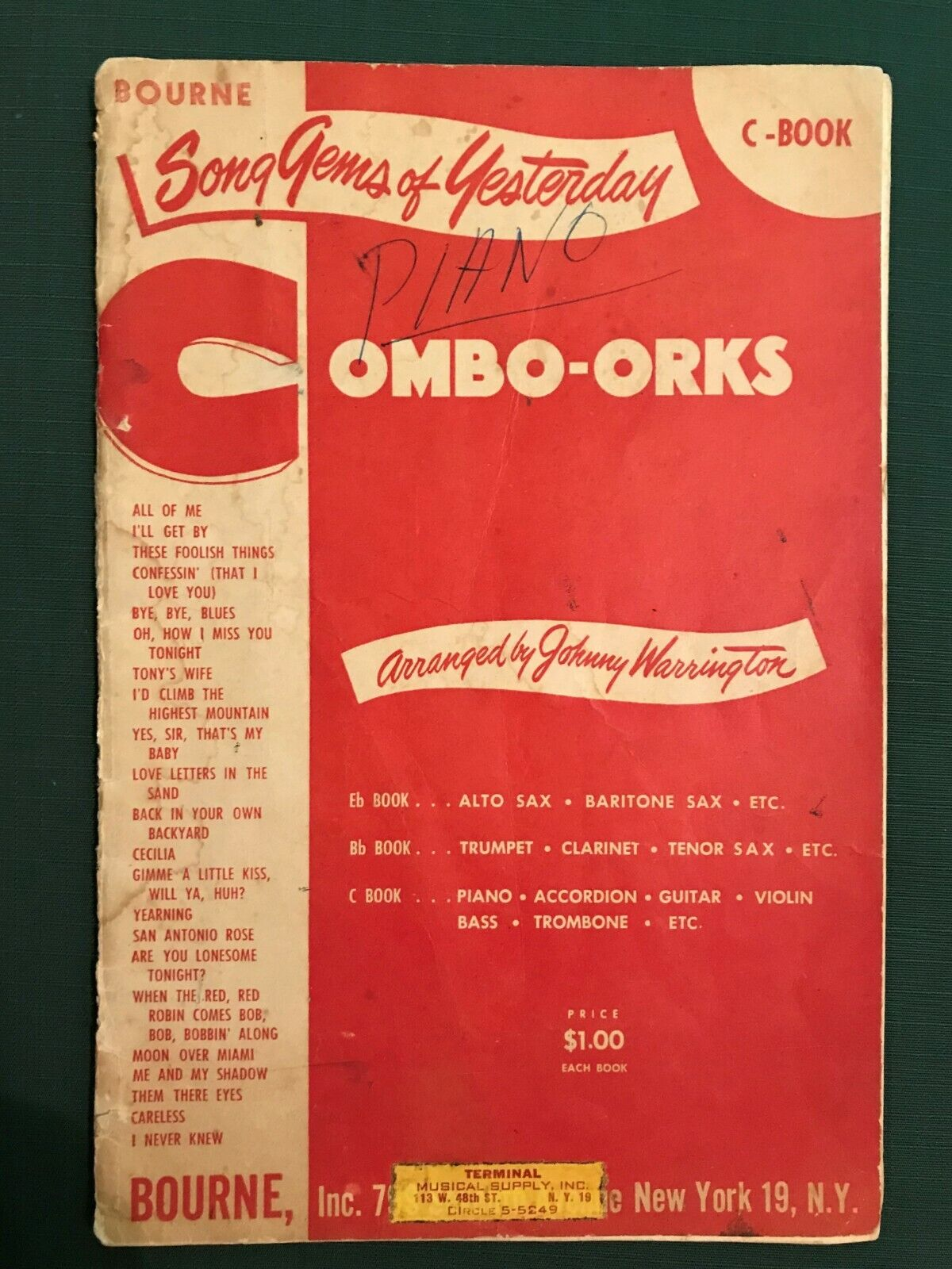 Vintage BOURNE Song Gems Of Yesterday C-Book Combo-Orks - $5.50