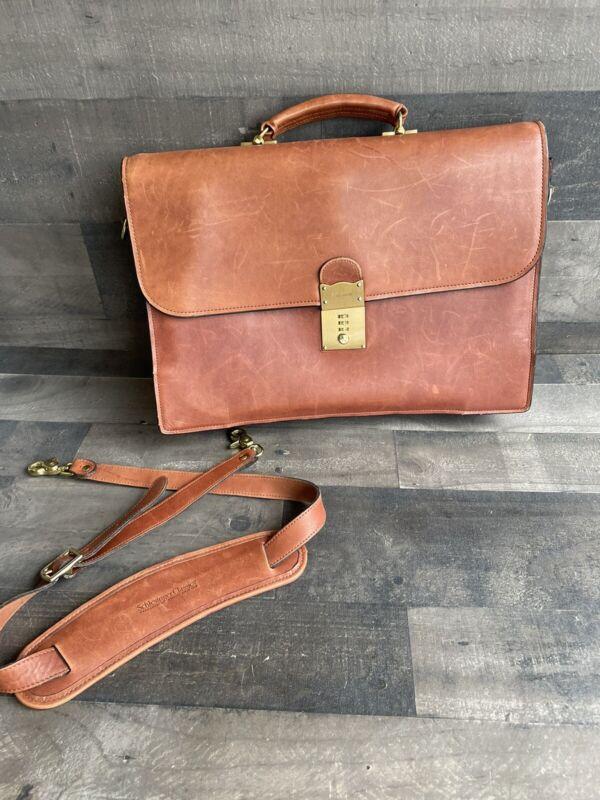 Vintage Schlesinger Brothers Full Grain Cowhide Belting Leather Brief Case