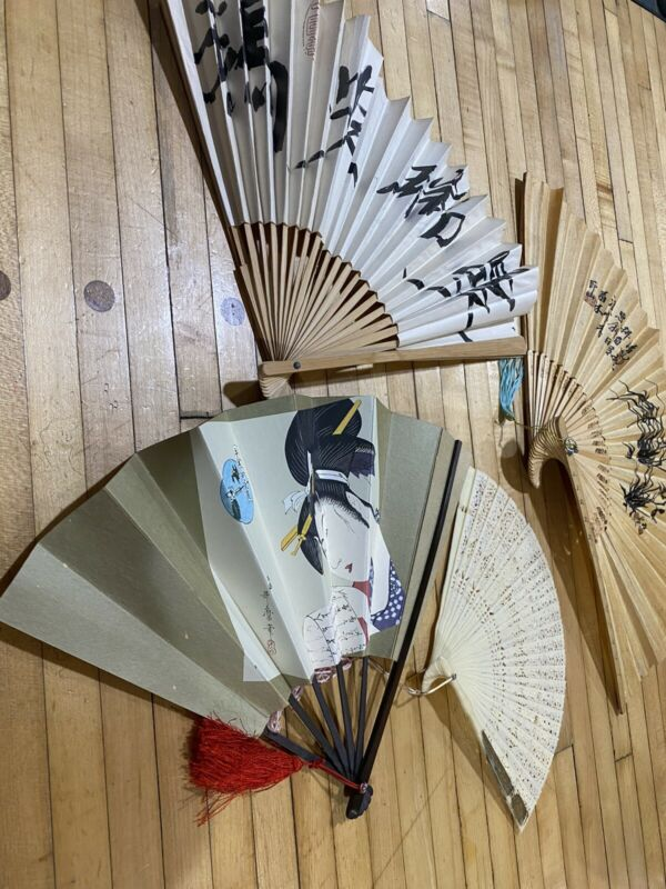Lot of 4 Fans & Paper, Plastic Bamboo Folding Fans Wood Handles Chinese Asian
