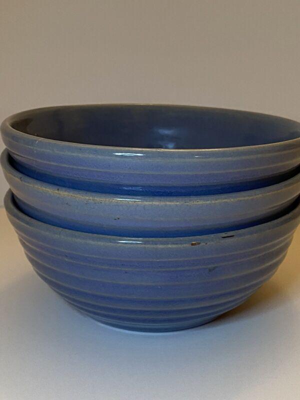 Vintage Bauer Ringware 3 Individual Fruit Bowls Delph Blue