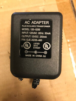 - AC Wall Power Adapter 12 VDC 250mA 120-0250 GJE-AD35-400 12 Volt DC 250 mAh 12V