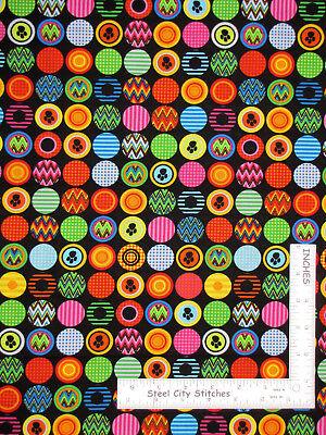 "Benartex Kanvas Studio Ziggy Cat Pawprint Circles Black Cotton Fabric 18"" Length"