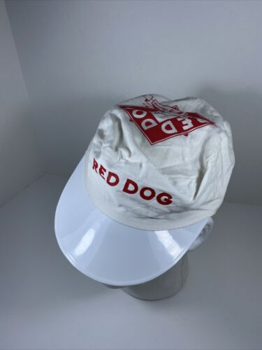 Vintage Red Dog Beer Painters Hat White Cap