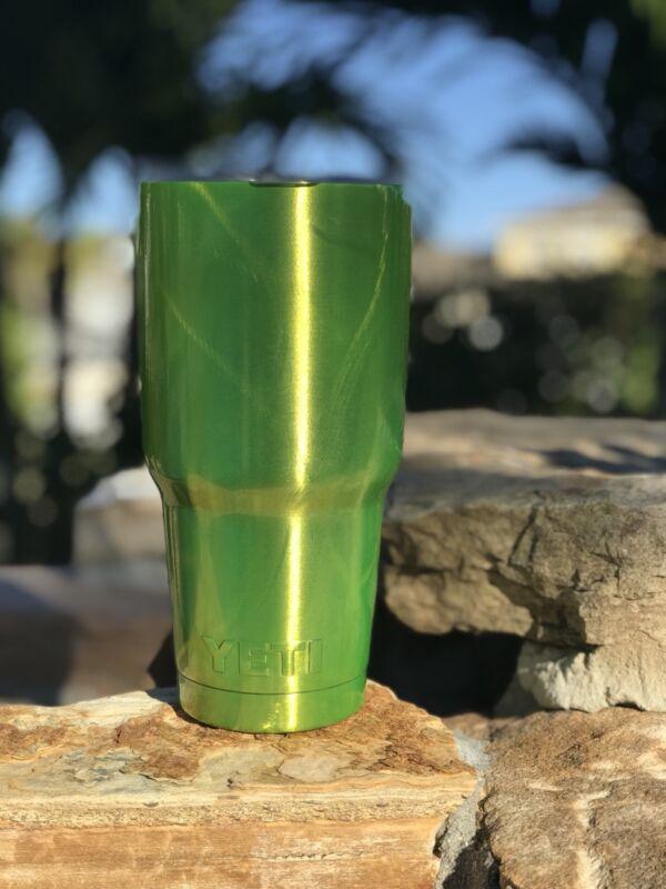 Custom Powder Coated YETI 30 oz Rambler Candy Shocker Yellow With Swirl design