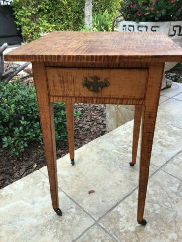 19th Century American Tiger Maple 1 Drawer Side Table