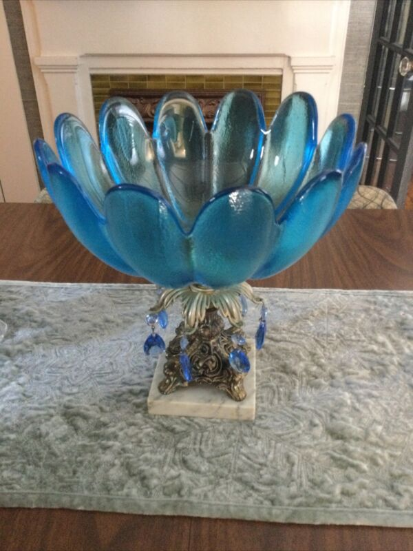 Hollywood Regency Murano Style Big Blue Glass Prisms Brass Marble Pedestal Bowl