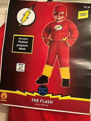 Cheap 2t Halloween Costumes (Toddler Boys 2T/3T The Flash Muscle Chest Deluxe Halloween Costume Hat/Mask)