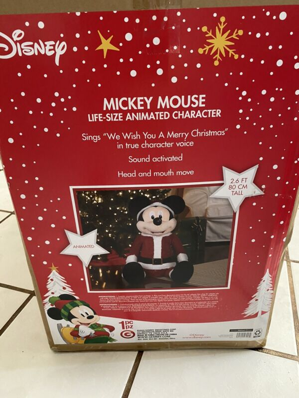 Disney Gemmy Micky Mouse 2.6 Tall Life Size Santa Animated Character Christmas