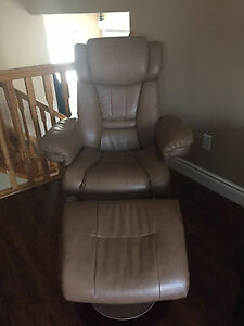 Leather Reclining Chair & Ottoman