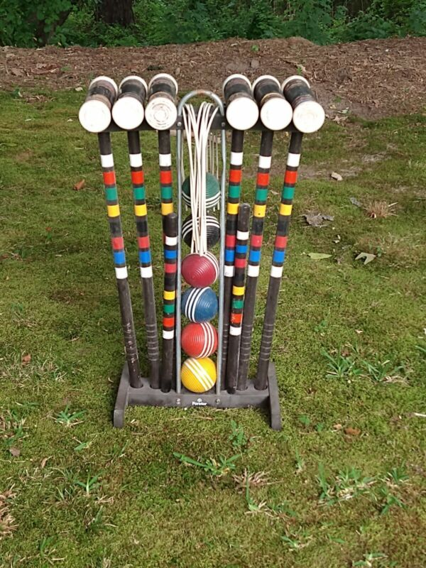 Complete Forster SKOHEGAN 6 player Croquet  set in Black with  Cart / Stand