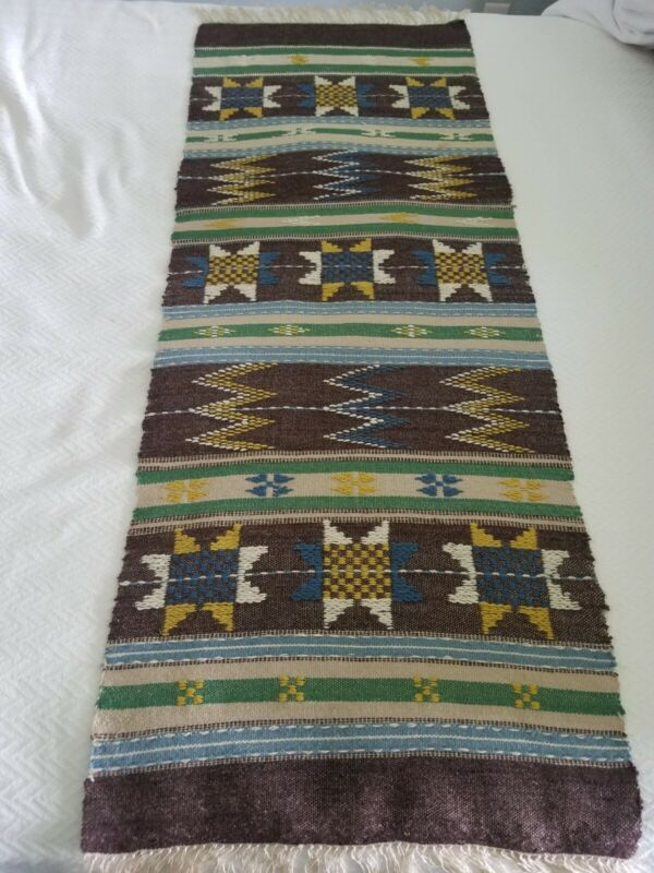 Vintage Handwoven Norway Wool Table Runner 61 Inches Long