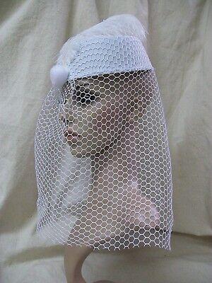 White Pillbox Costume Hat w/ Veil Vintage Style 60's Bride Steampunk Fancy Dress](60s Style Costumes)