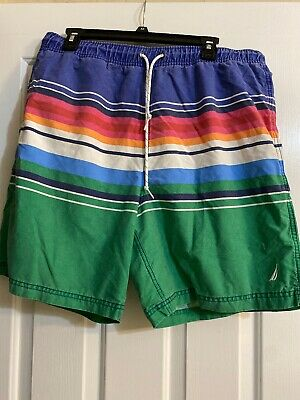 NAUTICA Mens Size L Swim Trunks Mesh Lined Pockets Board Shorts