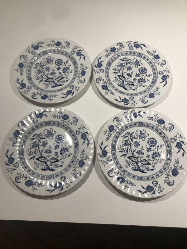 "Vintage J & G Meakin England Classic Blue Nordic 4-10"" Dinner Plates"