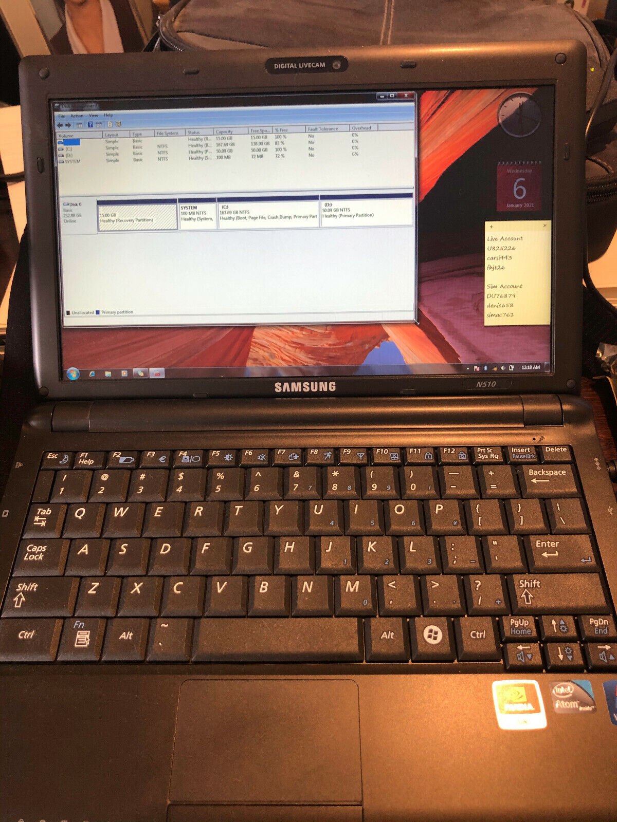 Laptop Windows - Samsung n510 laptop with windows 7 in Good condition