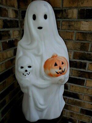 "Halloween Blow Mold Ghost Holding Pumpkin Skull Empire 23"" Lighted Decor"