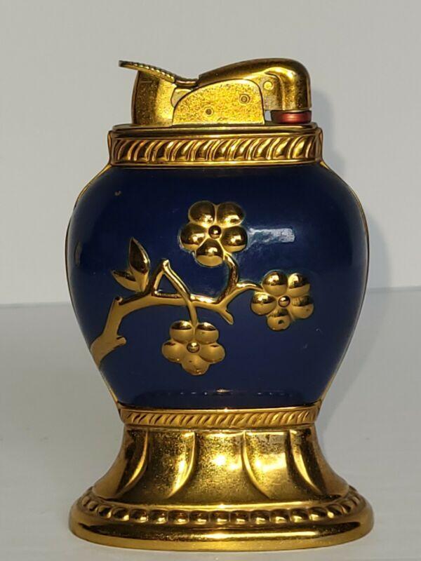 Vintage Evans Tabletop Lighter - Brass and Enamel (Navy) Design