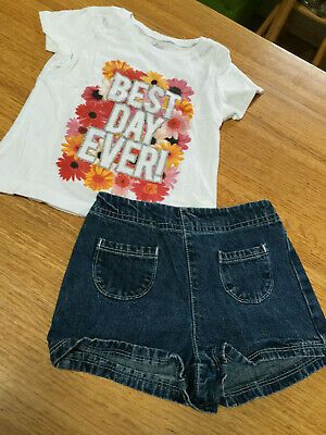 DISNEY FAIRIES TODDLER GIRLS DENIM PULL ON SHORTS (SZ 4T) & PLACE TOP (SZ 4) - Fairies Shoes