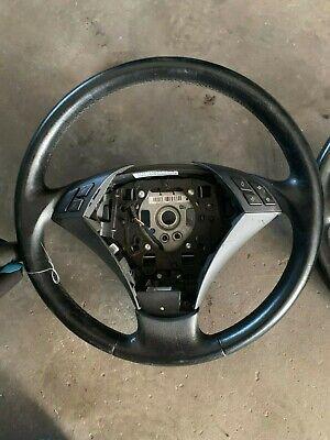 BMW E60 E61 5er Steering Wheel Multi Function Leather Black 6953324