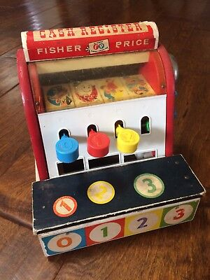 Vintage Fisher Price Wood Cash Register #972 1960's distressed condition toy