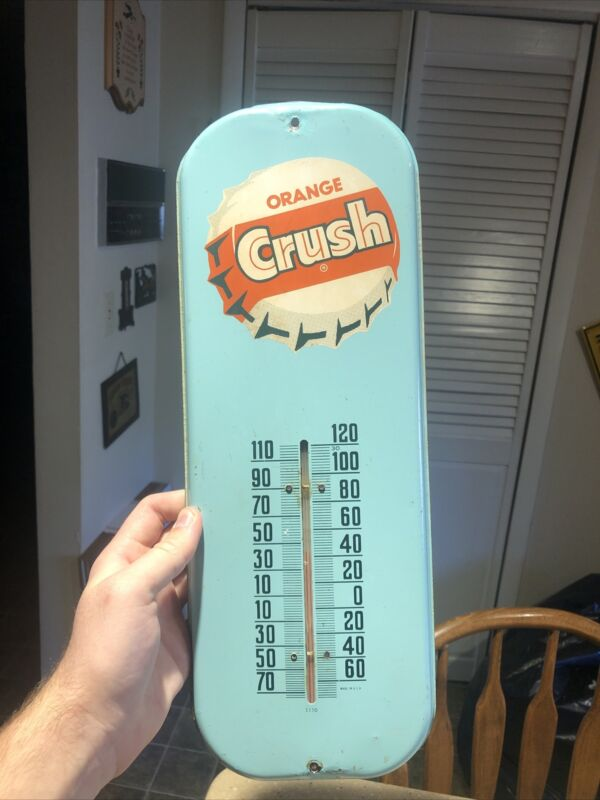 Vintage Orange Crush Soda Thermometer Sign Advertising Bottle Cap