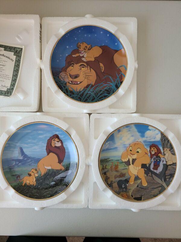 "Walt Disney  Lion king Plates ""Like Father Like Son""  Bradford Exchange lot of 3"