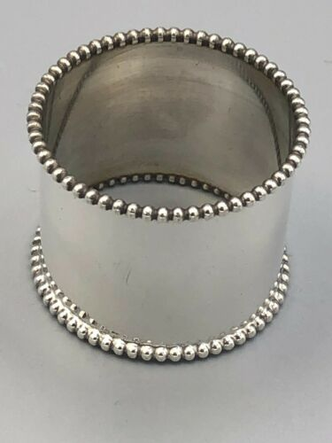 """Wide Beaded Napkin Ring 1 3/8"""" wide band, Sterling silver #105"""