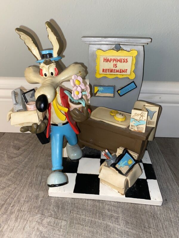 Wile E. Coyote T M WB Happiness Is Retirement Statue Sculpture