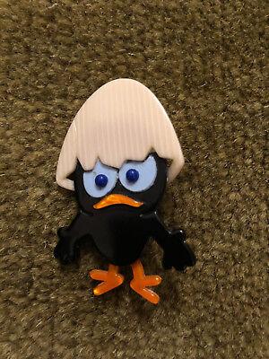 Lea Stein Italian/Japanese Cartoon Character 'Calimero' Black Chick/Egg Brooch