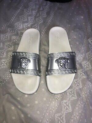 Genuine Versace sliver flip flops size 8