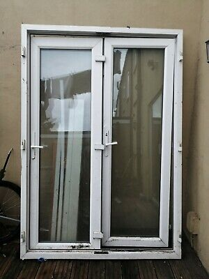 Used  white upvc french doors 2210mm X 1530mm outside frame diameter