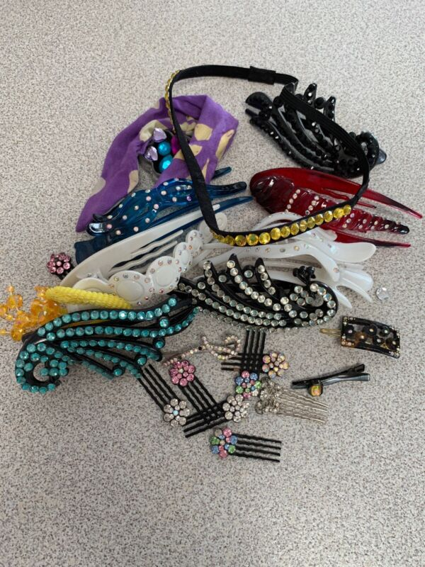 Fashion Jewelry Rhinestone & Beaded Hair Clips Ties Pins Combs Bands Lot of 22
