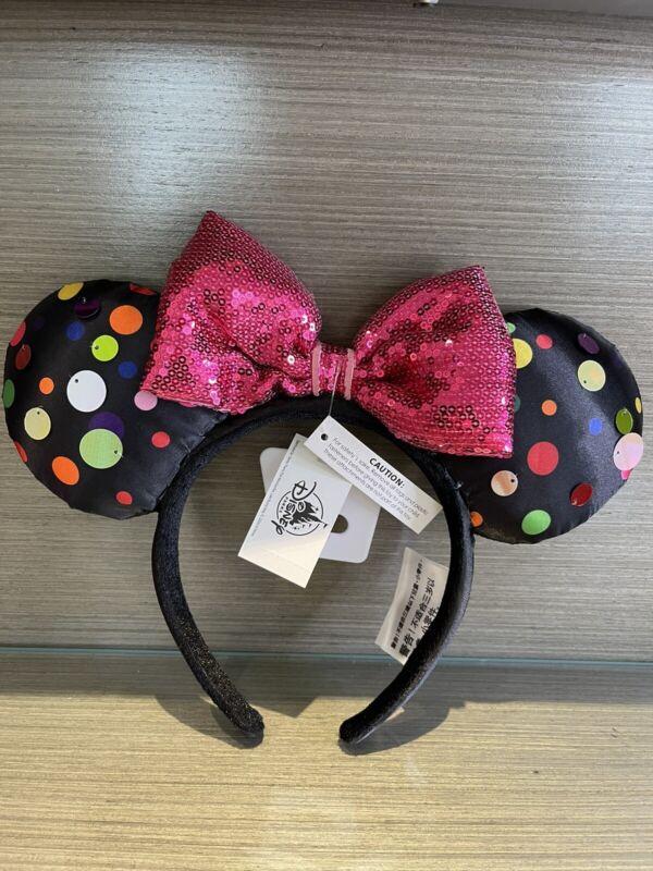 Disney Parks Rock The Dots Multi Color Polka Dot Minnie Mickey Ears Headband NWT