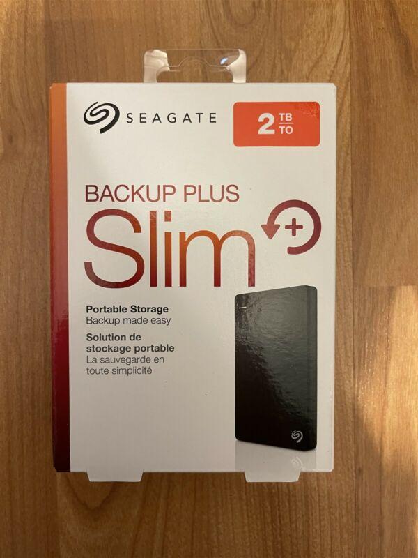 Seagate Backup Plus Slim 2TB USB 3.0 Portable External Hard Drive-Black