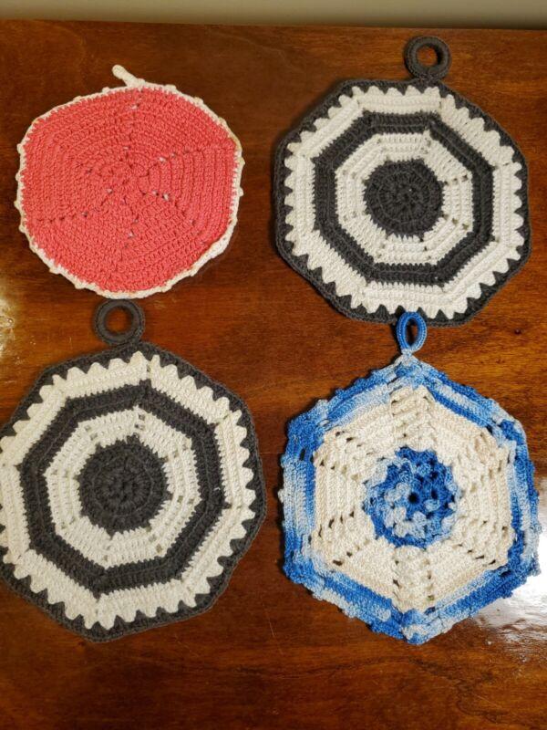 Vtg Crochet Lace Potholder Lot