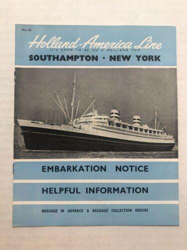 Vintage Holland America Cruise Line Information Booklet