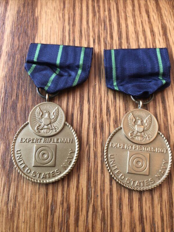 Original, full size US Navy Expert Rifleman & Expert Pistol Shot Medals