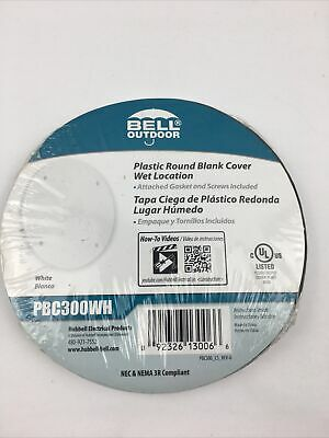 Hubbel Pbc300wh Round Weather Proof Cover Blank Non Metal Qty 3