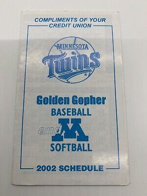 2002 Minnesota Twins & Golden Gopher MLB & College Baseball Pocket Schedule -  Minnesota Golden Gophers College Baseball