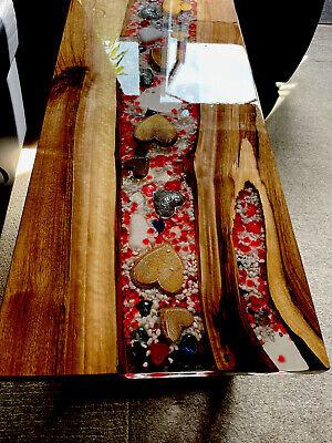 Unique designed epoxy river coffee table italian walnut