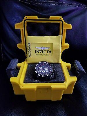 Invicta Mens Aviator Watch Black w/ Red Sport Fashion Style