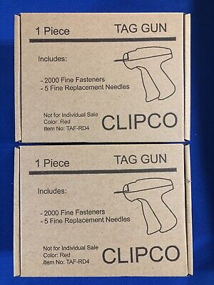 2 Clipco Red Garment Clothing Retail Pricing Tagging Gun 2000 Fasteners Each
