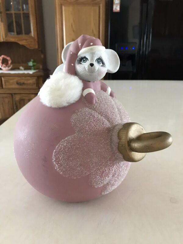 Vintage 1987 Ceramic Christmas Ornament Bulb With Mouse