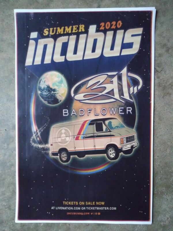 Incubus 11x17 2020 promo concert tour poster 311 tickets shirt cd lp