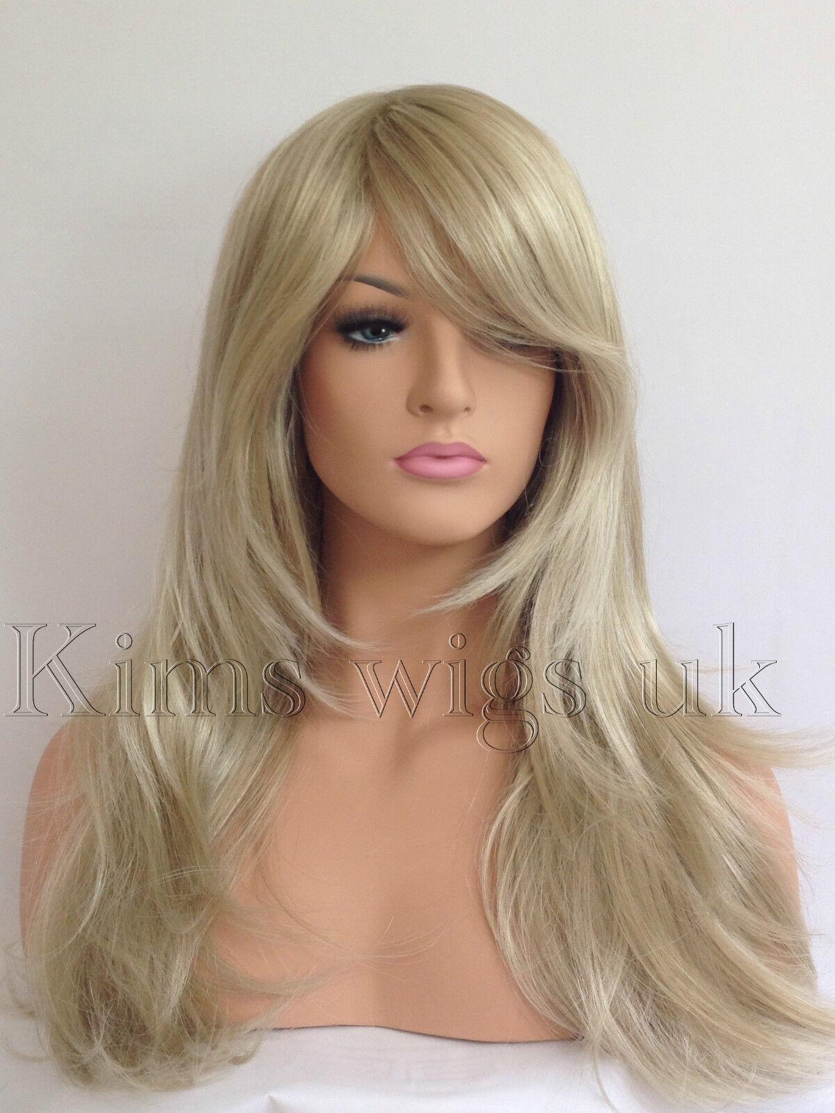 Full Long Womens Ladies Fashion Hair Wig Two Tone Blonde