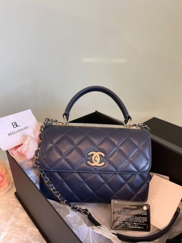 1000 AUTH Year 2020 Chanel Classic Trendy Small CC Navy Blue Flap GHW Bag