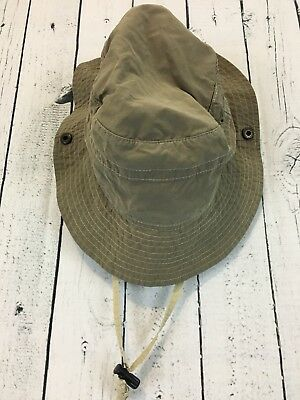 c28b679999853d REI Army Green Khaki Hiking Safari Sun Side Snap Hat Size S/M A2
