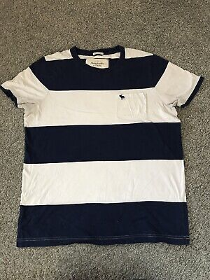 Abercrombie & Fitch Navy & White Striped Polo Shirt L Ex Cond  - Smoke Free Home