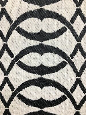 BLACK WHITE Circle Upholstery Drapery Brocade Fabric (54 in.) Sold BTY