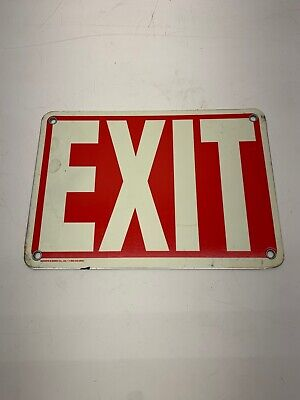 Exit Sign Metal Red Backdrop with White LETTERING *  Glow In The Dark Dark Red Background